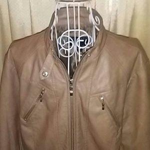 BERNARDO Lt Brown Faux Leather Jacket